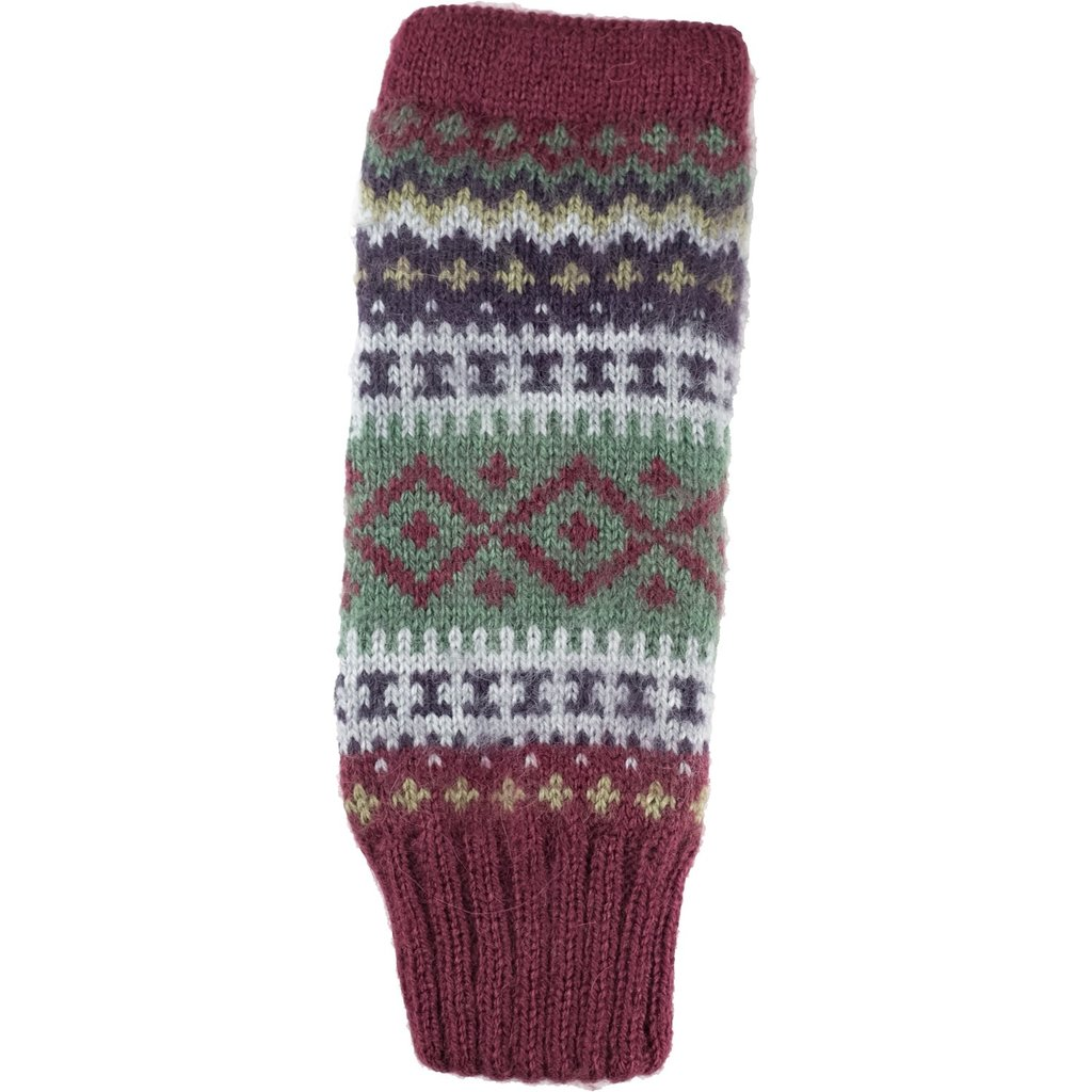 Andes Gifts Sierra Knit Arm Warmers: Berry