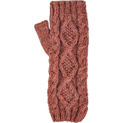 Andes Gifts Braided Pom Knit Arm Warmers: Rose
