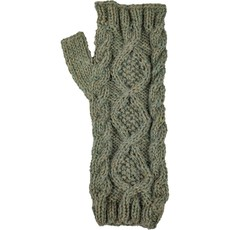 Andes Gifts Braided Pom Knit Arm Warmers: Sage