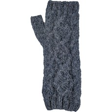 Andes Gifts Braided Pom Knit Arm Warmers: Steel