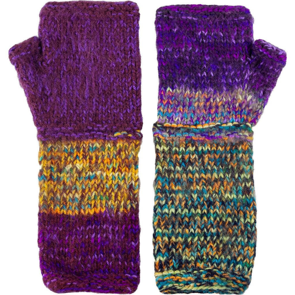 Andes Gifts Altiplano Knit Arm Warmers: Purple