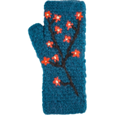 Andes Gifts Embroidered Flower Knit Arm Warmers: Aqua