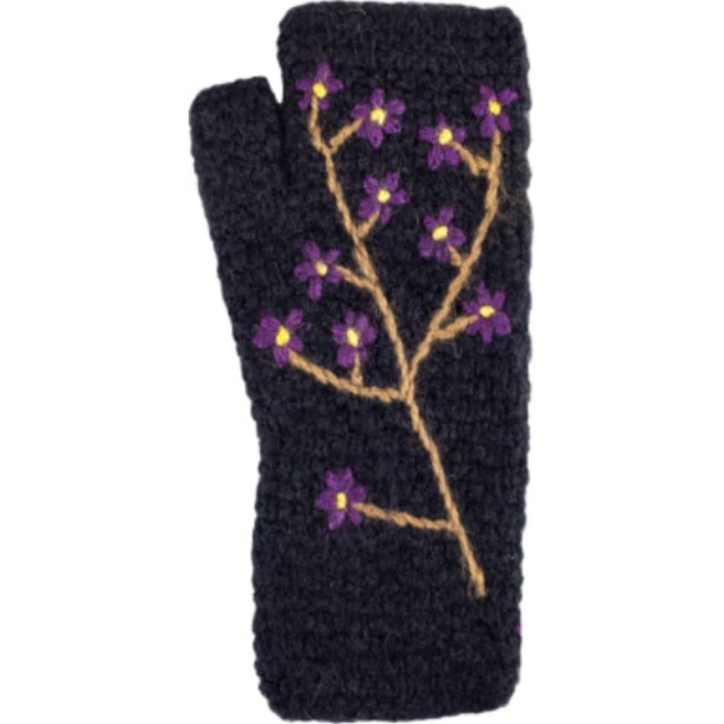 Andes Gifts Embroidered Knit Arm Warmers: Black