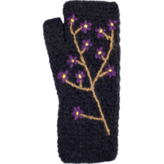 Andes Gifts Embroidered Flower Knit Arm Warmers: Black
