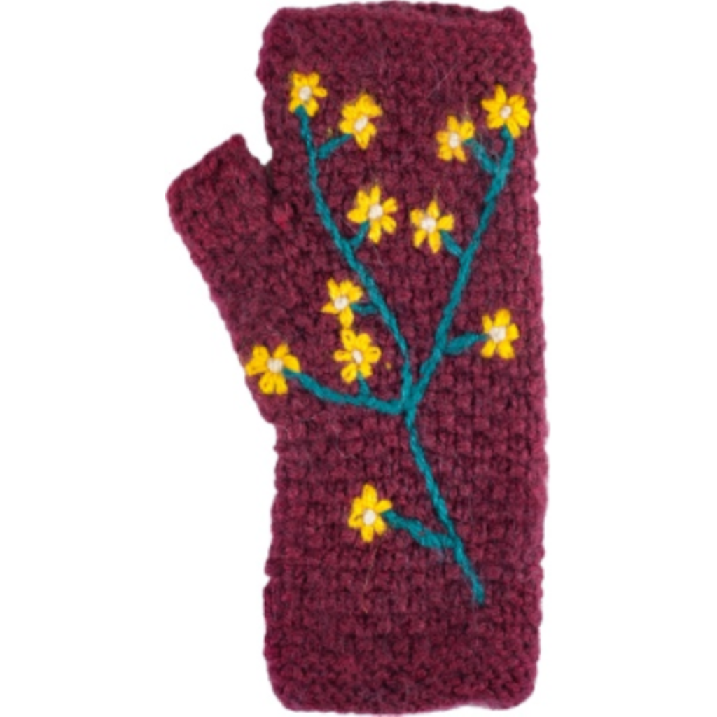 Andes Gifts Embroidered Flower Knit Arm Warmers: Burgundy