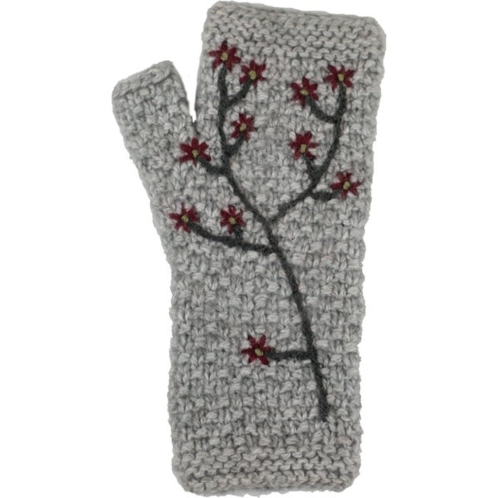 Andes Gifts Embroidered Flower Knit Arm Warmers: Grey
