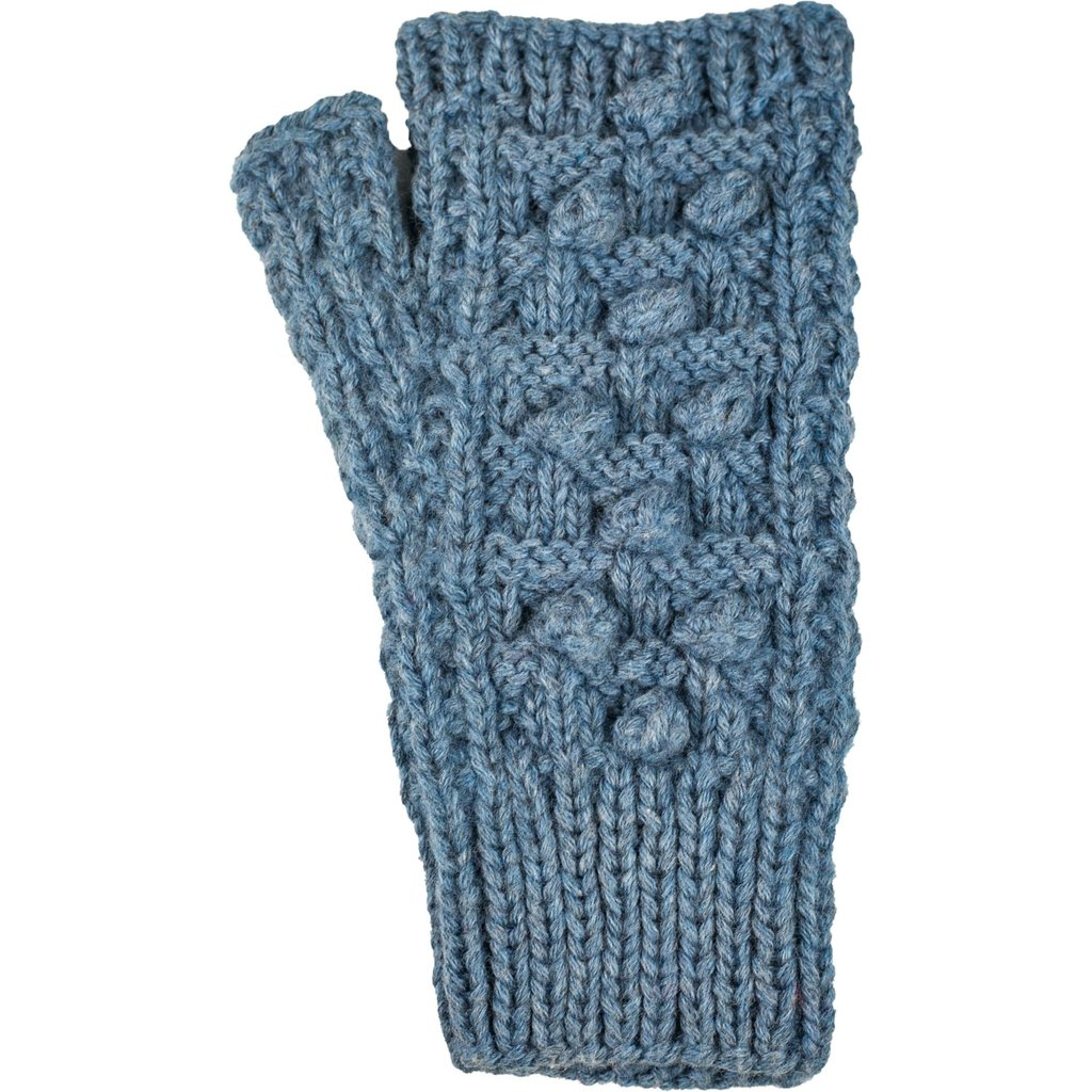 Andes Gifts Pom Pom Blended Wrist Warmers: Blue
