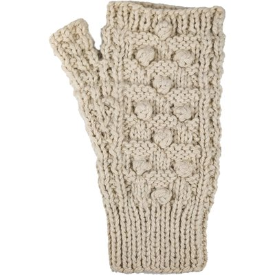 Andes Gifts Pom Pom Blended Wrist Warmers: Cream