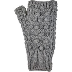 Andes Gifts Pom Pom Blended Wrist Warmers: Grey