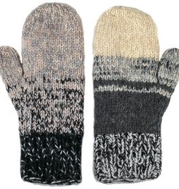 Andes Gifts Altiplano Knit Mittens: Grey