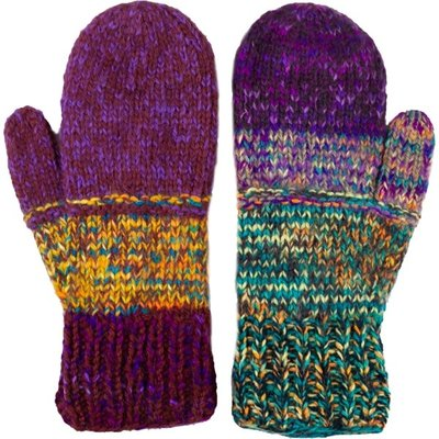 Andes Gifts Altiplano Knit Mittens: Purple