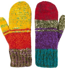 Andes Gifts Altiplano Knit Mittens: Sunset
