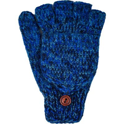 Andes Gifts Blended Knit Glittens: Cobalt