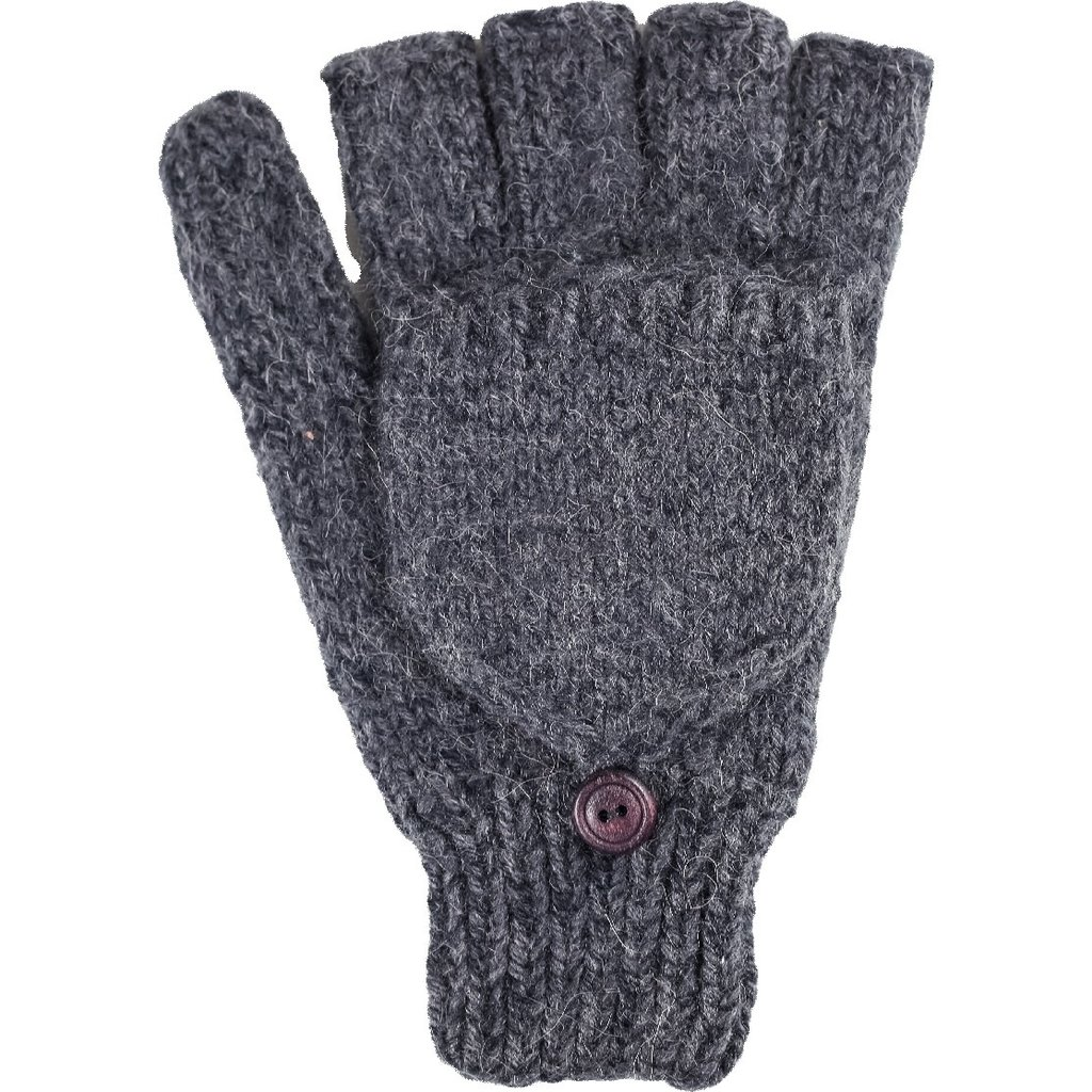 Andes Gifts Blended Large Glittens: Charcoal