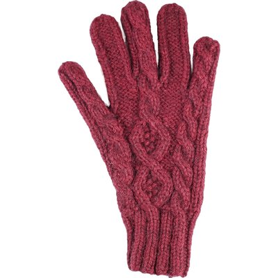 Andes Gifts Cable Knit Glove: Burgundy