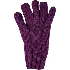 Andes Gifts Cable Knit Glove: Purple