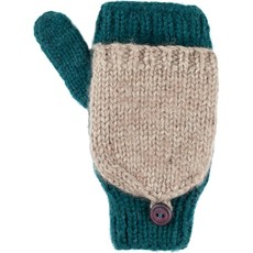 Andes Gifts Fleece-lined Knit Flittens: Aqua