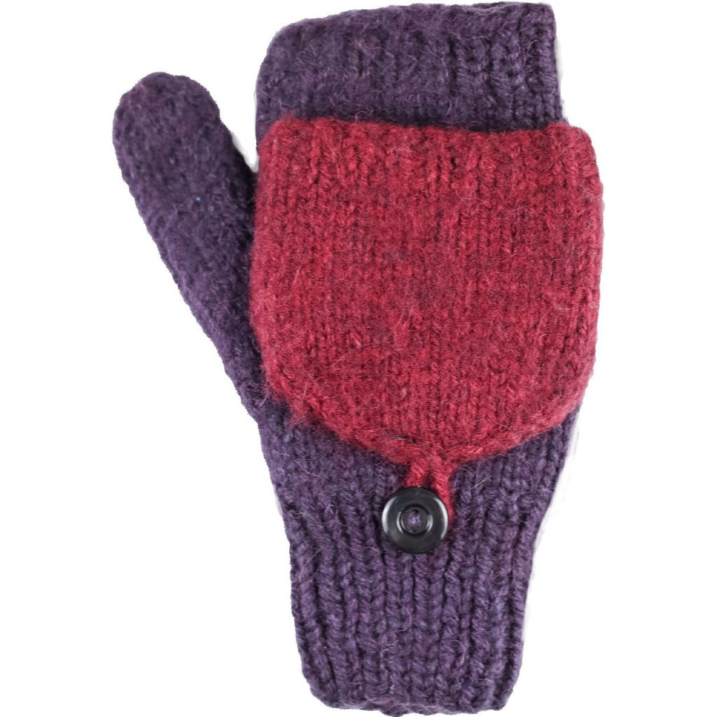Andes Gifts Fleece-lined Knit Flittens: Grape