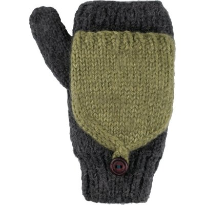 Andes Gifts Fleece-lined Knit Flittens: Grey