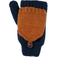Andes Gifts Fleece-lined Knit Flittens: Navy