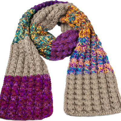 Andes Gifts Altiplano Knit Scarf: Purple