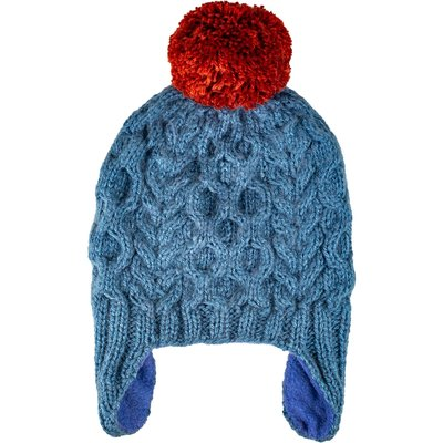 Andes Gifts Kids Cable Pom Hat: Blue