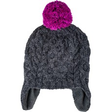 Andes Gifts Kids Cable Pom Hat: Grey