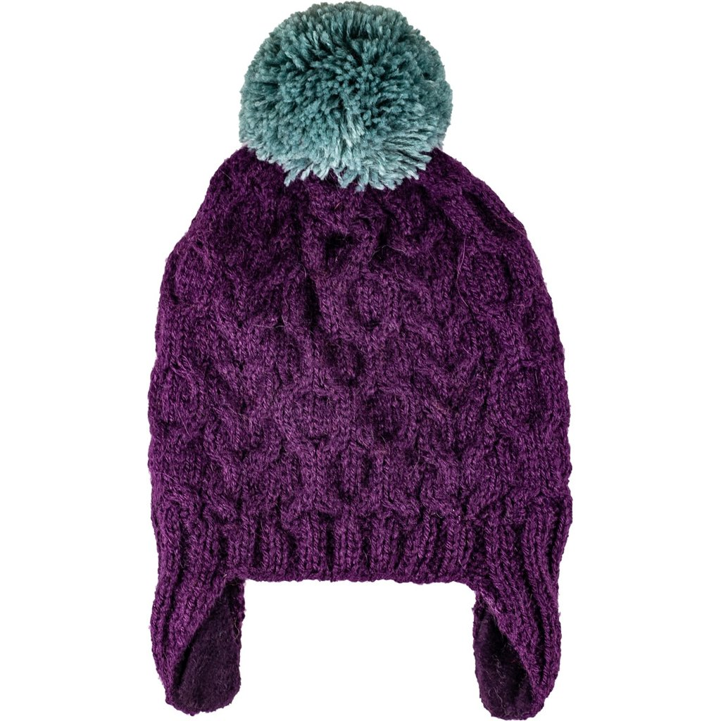 Andes Gifts Kids Cable Pom Hat: Purple