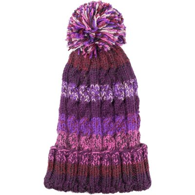 Andes Gifts Kids Funky Knit Hat with PomPom: Purple