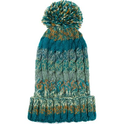Andes Gifts Kids Funky Knit Hat with PomPom: Teal