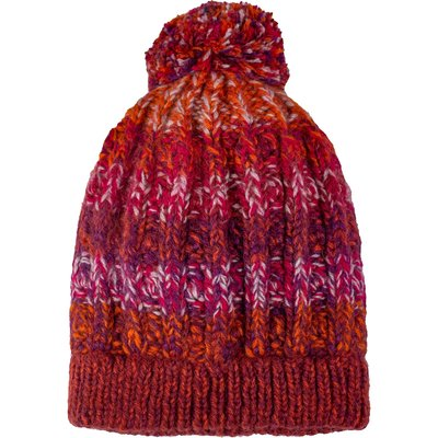 Andes Gifts Funky Knit Hat with PomPom: Burgundy
