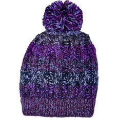 Andes Gifts Funky Knit Hat with PomPom: Purple
