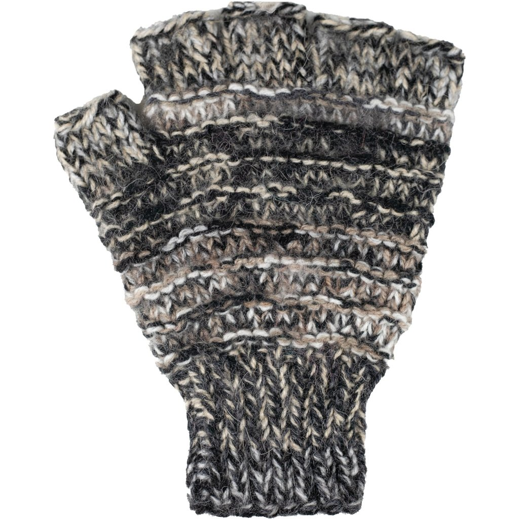 Andes Gifts Funky Knit Fingerless Gloves: Grey
