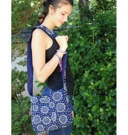 Unique Batik Mystic Circles Indigo Crossbody Bag