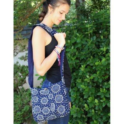 Unique Batik Mystic Circles Indigo Crossbody Bag