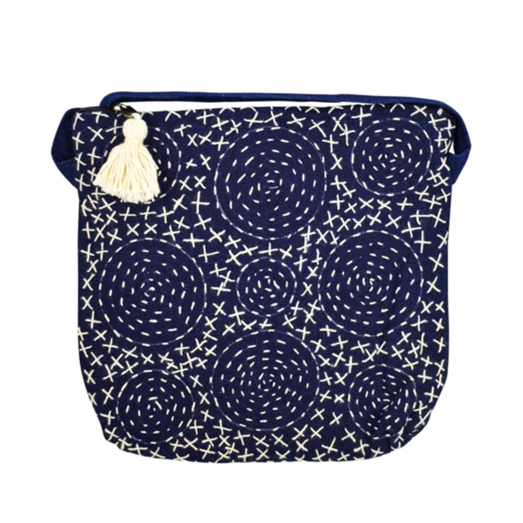 Unique Batik Tassle Indigo Circles Crossbody Bag