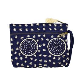Unique Batik Indigo 2-Zip Circles Wristlet