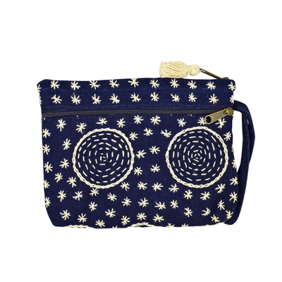 Unique Batik Indigo 2-Zip Circles Wristlet