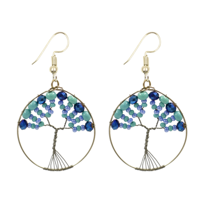 Unique Batik Beaded Tree of Life Earrings