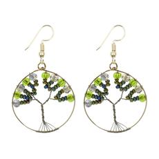 Unique Batik Beaded Tree of Life Earrings