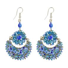 Unique Batik Moon Flower Blue Beaded Earrings