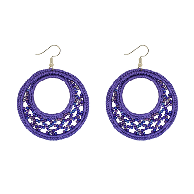 Unique Batik Large Lupita Purple Beaded Earrings