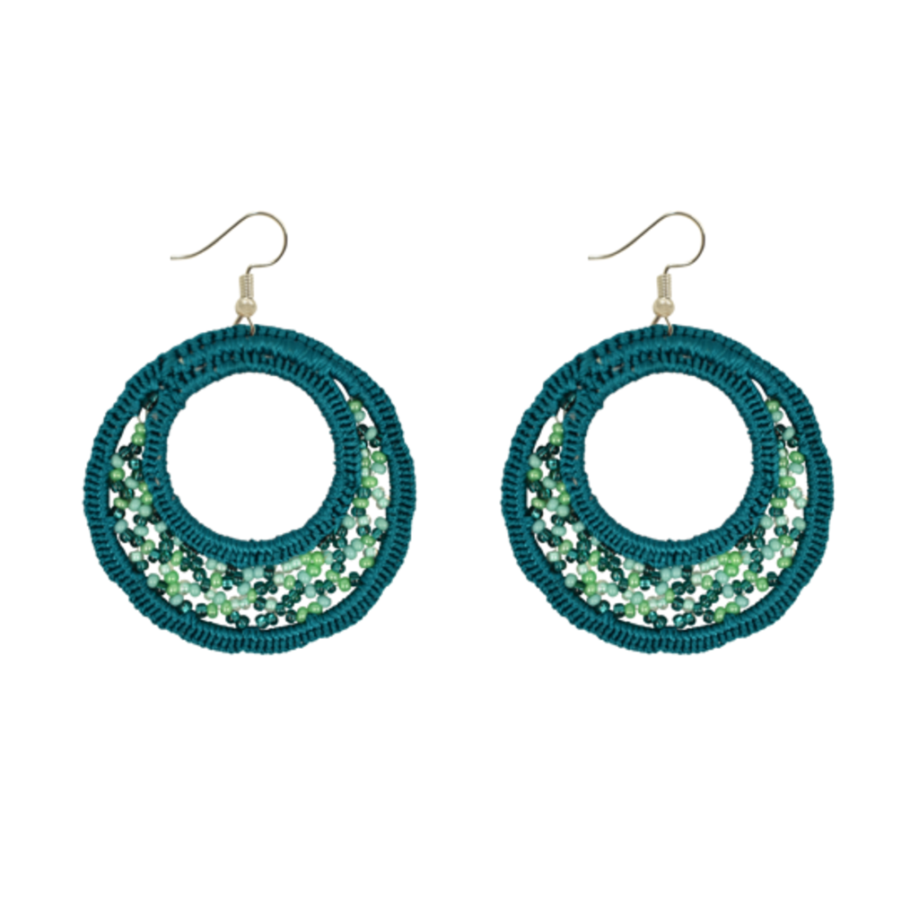 Unique Batik Large Lupita Teal Beaded Earrings
