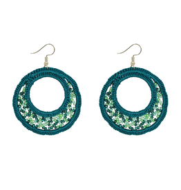 Unique Batik Large Lupita Teal Beaded Earrings