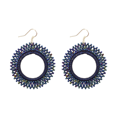 Unique Batik Mira Blue Beaded Earrings