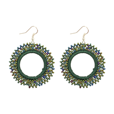 Unique Batik Mira Green Beaded Earrings