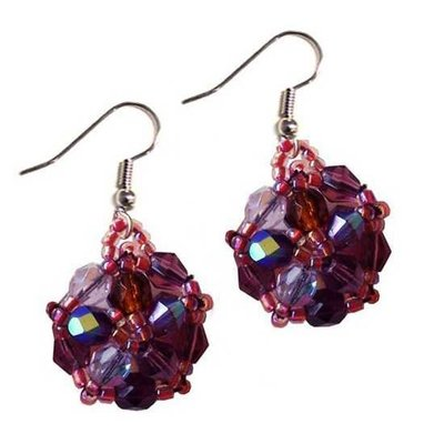 Unique Batik Turtle Purple Beaded Earrings