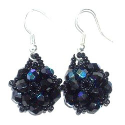 Unique Batik Turtle Blue Beaded Earrings