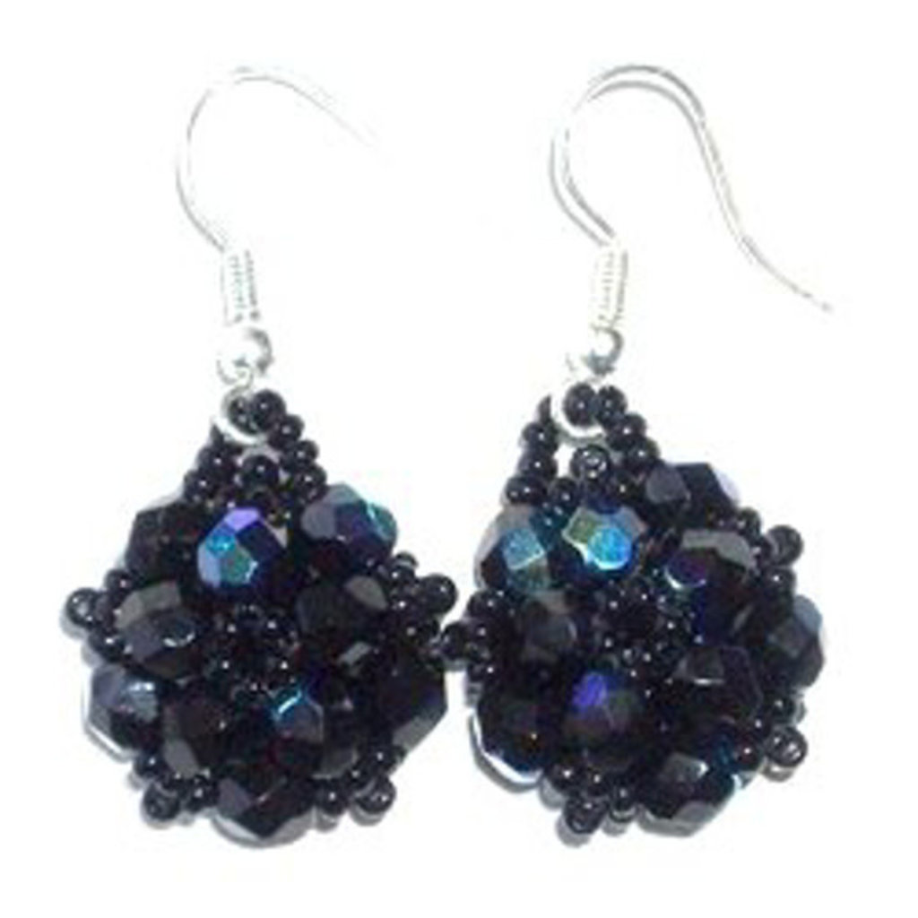 Unique Batik Turtle Blue Beaded Earrings