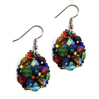 Unique Batik Turtle Rainbow Beaded Earrings